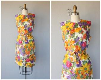 1960s Dress | 60s Dress | 1960s Floral Dress | 60s Shift Dress | 1960s Spring Dress | 60s Day Dress (medium)