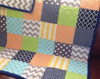Boy Girl Quilt - Colorful Chevron Dot Gender Neutral/Chevron Dots Stripes Gray Orange Lime Aqua Yellow Navy Made To Order