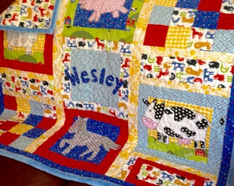 Baby Quilt Boy - Farm Animals Baby Quilt/Made To Order/Pig Sheep Cow Horse/Girl Or Boy/Red Yellow Blue Green Gray/Modern Baby Quilt