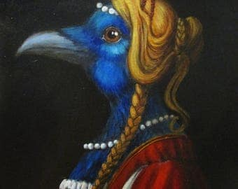 Botticelli's Raven - original whimsical painting by Kellie Marian Hill