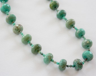 ALL IS WELL, Faceted Chrysoprase, Polished Green Crystal 18-inch necklace