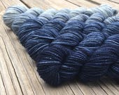 cashmere MCN A Perfect Storm Hand Dyed Gradient Set Mini Skein Set Sock Yarn 475 yards Cashmere Blend Yarn merino cashmere blue navy denim