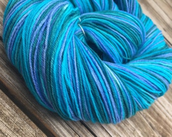 Hand Dyed Sock Yarn Bad Arse Mermaid Teal Blue Green Turquoise Hand Painted sockyarn 463 yards superwash merino nylon fingering bluegreen