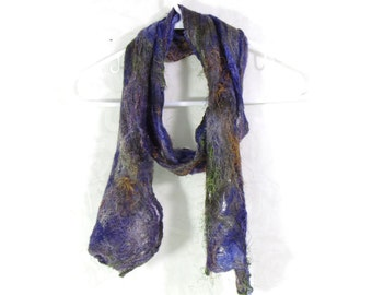 Cobweb Felted Scarf Wool Scarf Long Scarf Womens Scarf Winter Accessory Lightweight Scarf in Purple Brown Blue OOAK Gifs for Her