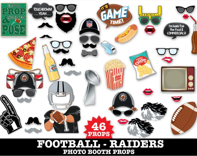 Raiders Football Photo Booth Props - Bowl Party- Football Party - Instant Download PDF - 46 DIY Printable Props