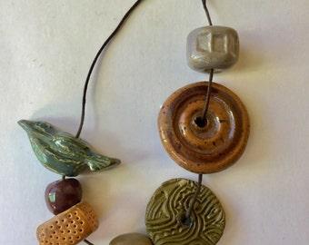 Handmade clay beads, porcelain
