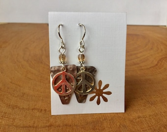 Repurposed Ceiling Copper earrings with sterling Peace Sign
