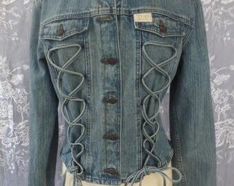 Vintage Harley Davidson Lace up  Denim Jacket