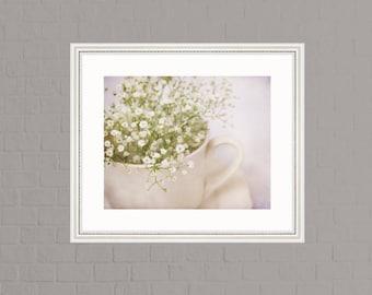 Bliss, white flowers, tea cup, baby breaths, Fine Art Photograph, 8x10