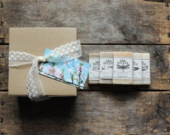 6 Soap Sample Gift Box, eco friendly gift box, soap gift set, cold process soap, natural soap, lightly scented, handmade soap, vegan