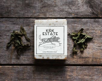 Peppermint, Grasshopper, large bar, cold process soap, handmade, natural soap, organic ingredients, herbal vegan, lightly scented, bath