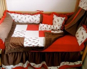 5 piece sock monkey crib bedding- free personalized pillow