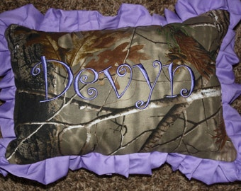 personalized  purple real tree camo pillow