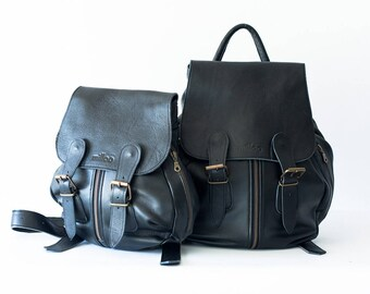 Black leather backpack, travel backpack back bag women daypack knapsack everyday large  - Artemis backpack