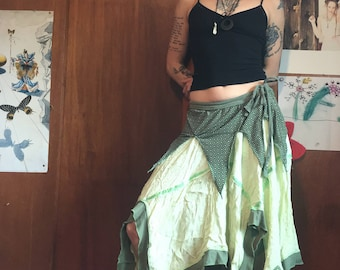 Green Pixie Skirt upcycled ooak