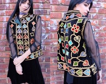 Vintage Bohemian Decorative Open Front Vest