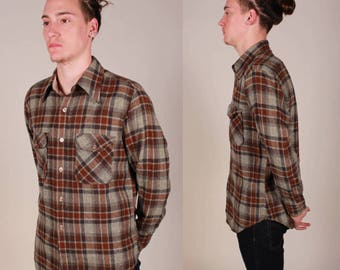 Vintage 80's JC Penney Wool Button Up Shirt