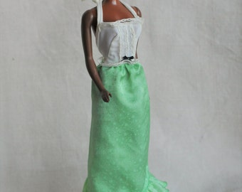 Barbie green halter Best Buy #9620 dress with green clone shoes, 1977