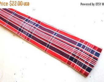 SALE Vintage ROOSTER Red White Blue Madras Plaid Cotton Necktie