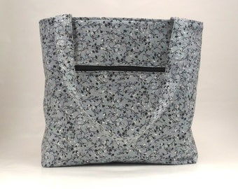 Gray Tote Bag / Large Tote Bag / Tote Bag With Zipper Pockets / Fabric Tote Bag / Shopping Tote / Market Tote / Gift For Her
