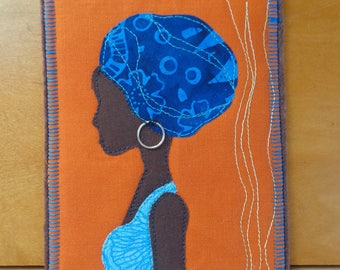 Quilted Fabric Post Card - Fiber Art - Africa Woman