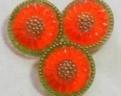 Small Sunflower Czech Glass Buttons (3)