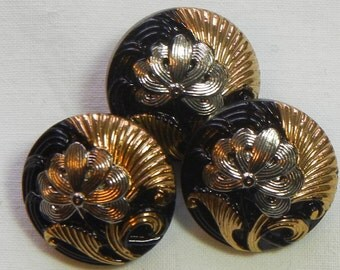 Looped Flower Czech Glass Buttons (3)