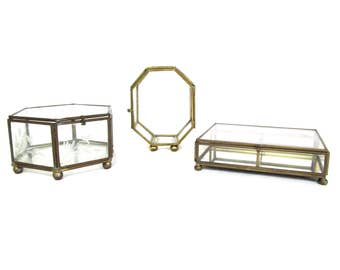 Vintage Brass and Glass Box Instant Collection, Polygon Glass Cases for Display