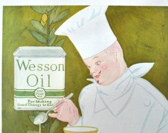 Vintage 1927 French chef magazine ad for Wesson Oil, salad dressing recipe, great for framing, from Women's Home Companion magazine