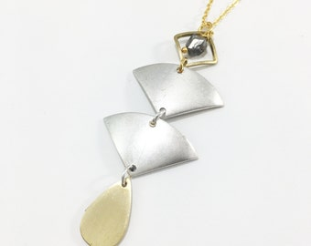 Geometric Pyrite Necklace | Silver Plated | Brass
