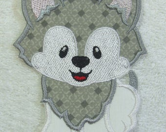 Wolf Pup Fabric Embroidered Iron on Applique Patch Ready to Ship