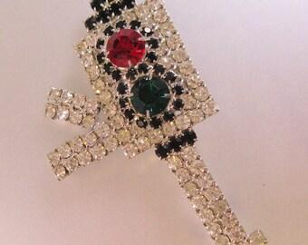 Art Deco Rhinestone Antique Traffic Signal Light Brooch Pin Big Vintage Costume Jewelry Jewellery