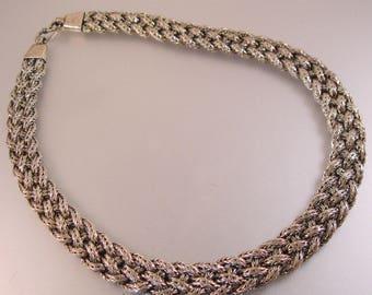 "BJC Samuel Benham Braided Sterling Silver Flat Wheat Chain Necklace 17 3/8"" 77g Estate Jewelry Jewellery"