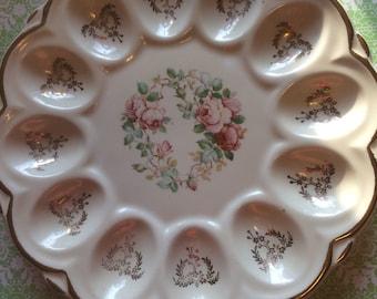 Vintage 40s Floral Deviled Egg Dish Plate  Porcelain Country Kitchen Serving Plate