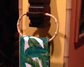 Handmade hand carved wood witco style tiki bar towel holder
