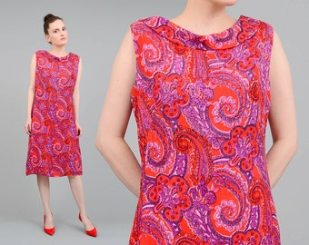 Vintage 60s Psychedelic Paisley Dress Boatneck Stand Collar Mod Twiggy Knee Length Dress Red Purple Pink Medium M