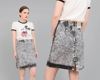 Vintage 80s Jean Skirt Acid Wash Skirt, Denim Skirt, High Waist Wiggle Skirt, BONGO Jean Mini Skirt with Bow Gray Black Small S
