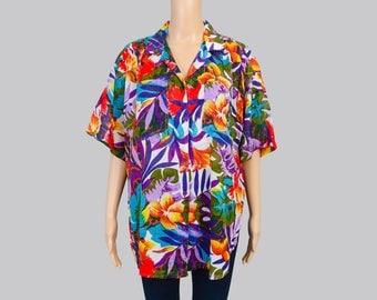 Vintage 80s Vibrant Hawaiian Shirt | Tropical Floral Blouse | 1980s Surfer Shirt | Sheer Cotton Gauze Oversize Button Up Shirt | size M L