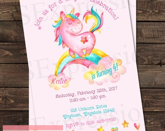 Pink Unicorn Pony Rainbow Birthday Party Invitation