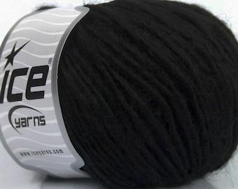 Peru Alpaca Worsted Yarn Black #48974 Ice Merino Wool Alpaca Acrylic 50g 98y