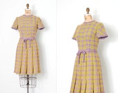 vintage 1960s dress / plaid wool 60s mod dress / yellow and purple checkered / small s