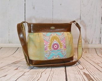 Zinnia Large Pleated Zippered Cross Body Bag in Joel Dewberry Modernist with brown faux leather