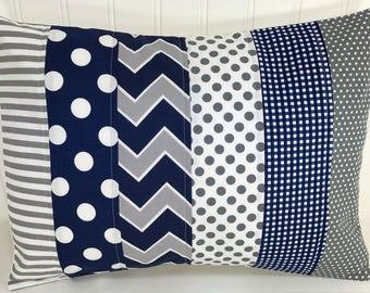 Pillow Cover, Baby Boy Nursery Decor, Patchwork Pillow Cover, Crib Bedding, 12 x 16 Inches, Navy Blue, Grey, Gray, Chevron, Dots, Stripes