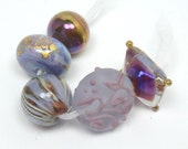 Handmade lampwork beads  -  Eclectics in Violet  -  purple, mauve, lilac, lavender, gold leaf, silver rich glass, loose glass beads