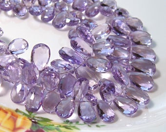 "4"" Strand - Stunning AAA AMETHYST Faceted Pear Briolettes"