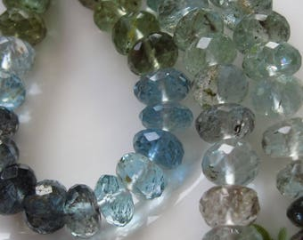 """3"""" Strand - Natural MOSS AQUAMARINE Faceted Big Rondelle Beads"""
