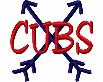 Cubs Cross Arrows Machine Embroidery Design 4x4 5x7 6x10 Chicago Team Instant Download Basketball Football Baseball Sports world series