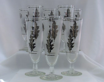 8 Vintage Champagne Cocktail Glasses Libbey Silver Foliage Leaves Hollywood Regency Mad Men Style