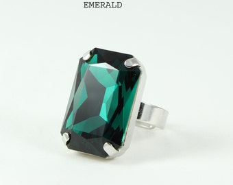 Rectangular ring, swarovski crystal ring, Crystal brandy, red magma, crystal ab, black diamond, Emerald