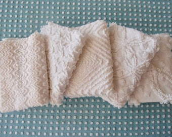 "Vintage Chenille Fabric Mini Sets - Five 12"" x 18"" pieces - Just Whites all Cabin Crafts - 200-62"